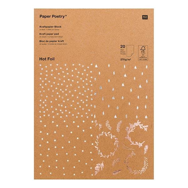 Kraftpapier Block Weihnachten [ A4 | 270 g/m² | 20 Blatt ] | Rico Design