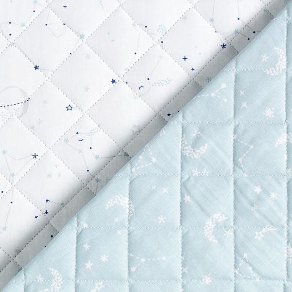 Steppstoff Doubleface Sternenbilder – weiss/hellblau