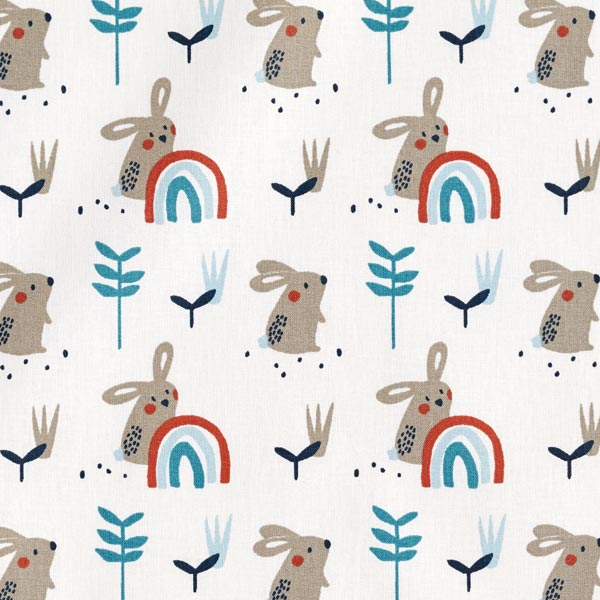 Tissu en coton Cretonne Lapin et arc-en-ciel – écru