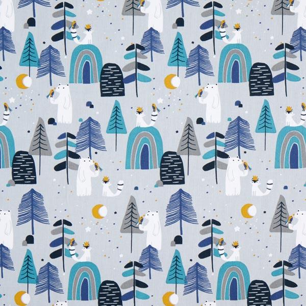 Cretonne Waldtiere bei Nacht – hellgrau/blau