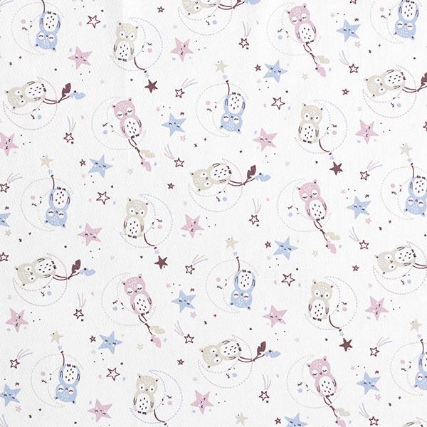 Tissus en coton Cretonne Chouette – blanc