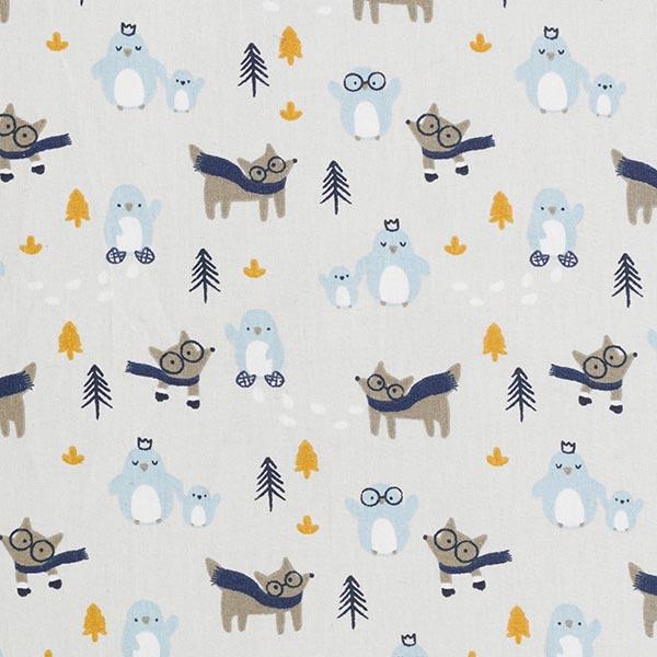 Tissus en coton Cretonne Animaux d'hiver – écru