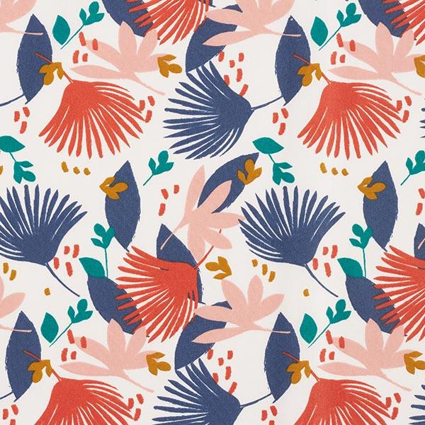 Beschichtete Baumwolle abstrakte Blumen – blau/orange
