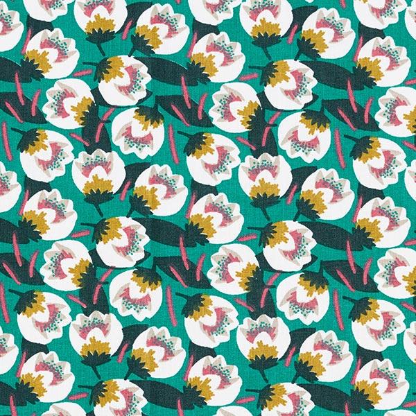 Tissu en coton Cretonne Tulipes – pétrole