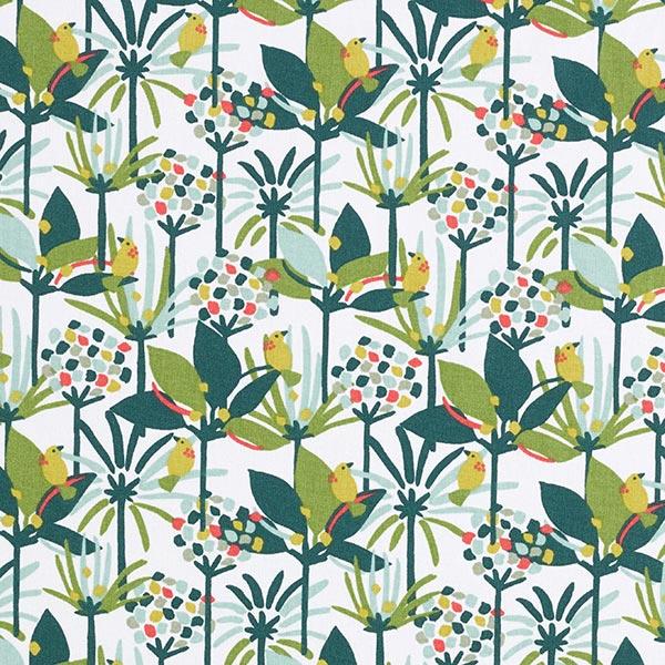 Dekostoff Cretonne kleine Dschungel Vögel – grün