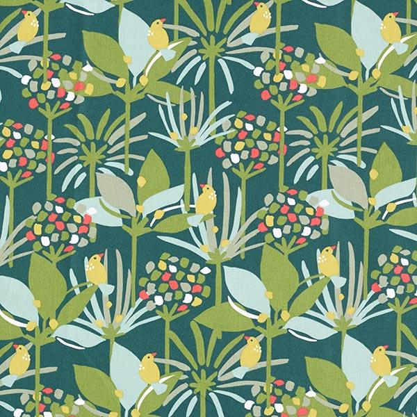Dekostoff Cretonne große Dschungel Vögel – dunkelgrün