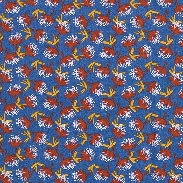 Tissu fin en viscose Midcentury Bouquet – bleu jean/terre cuite