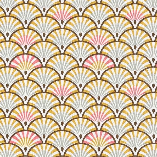 Tissu en coton Cretonne Éventail – or