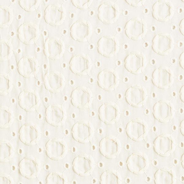 Batiste de coton fin Dentelle brodée Cercles – écru
