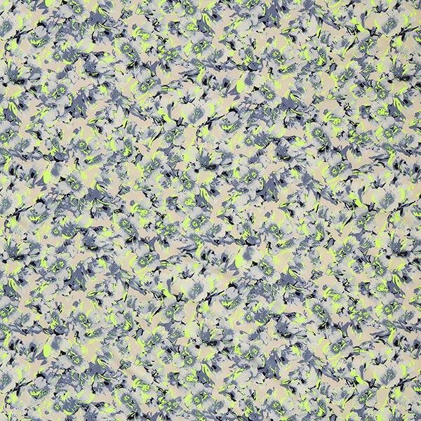 Tissu de chemisier Orchidées abstraites – gris/vert fluo