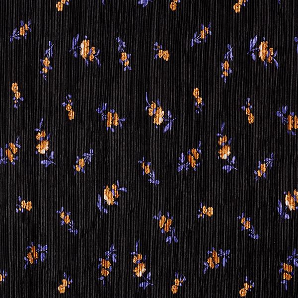Plissé Petites fleurs – noir/lilas