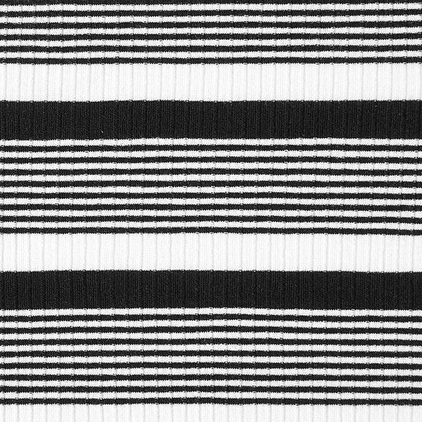 Rippenstrick Querstreifen – schwarz/weiss