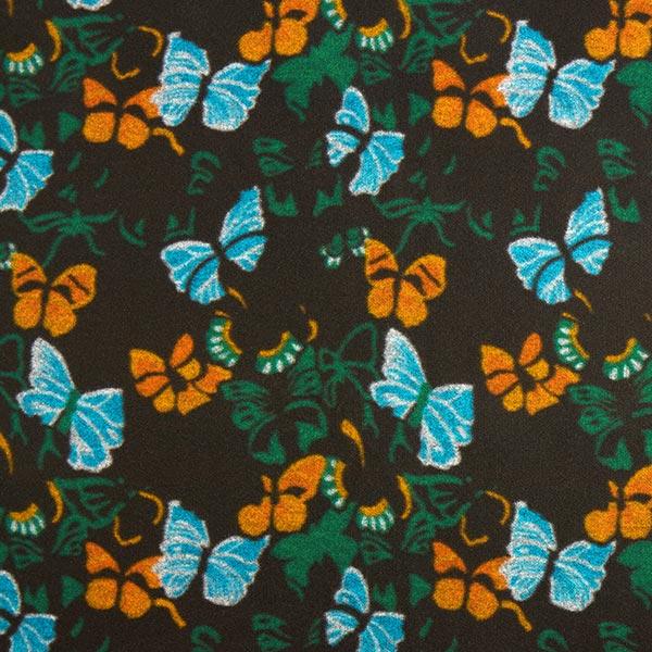 Tissu de manteau Laine Papillons – noir/vert