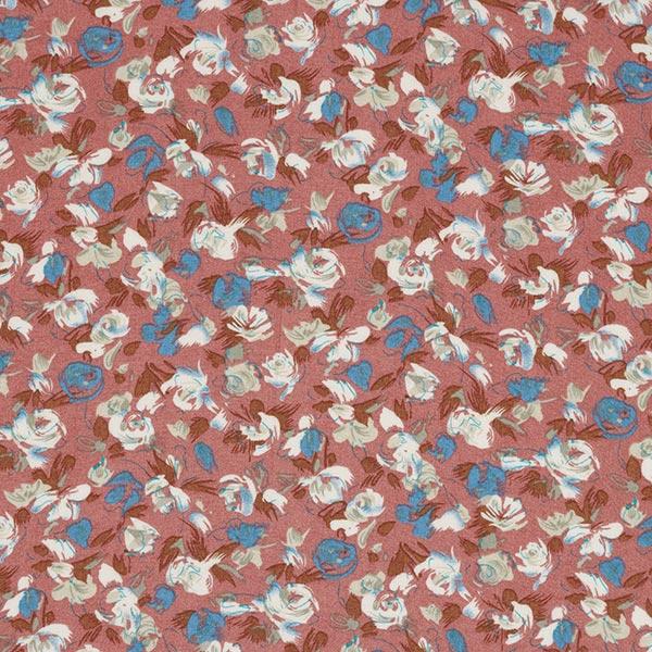 Tissu pour chemisier viscose roses et tulipes – vieux rose