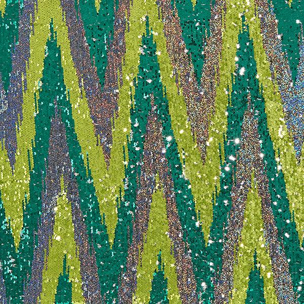 Paillettenstoff Wendepailletten – grün/silber