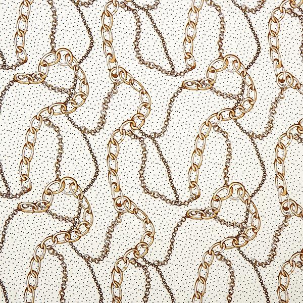Tissu pour chemisier stretch Chaînes en or et pois fantaisie – écru