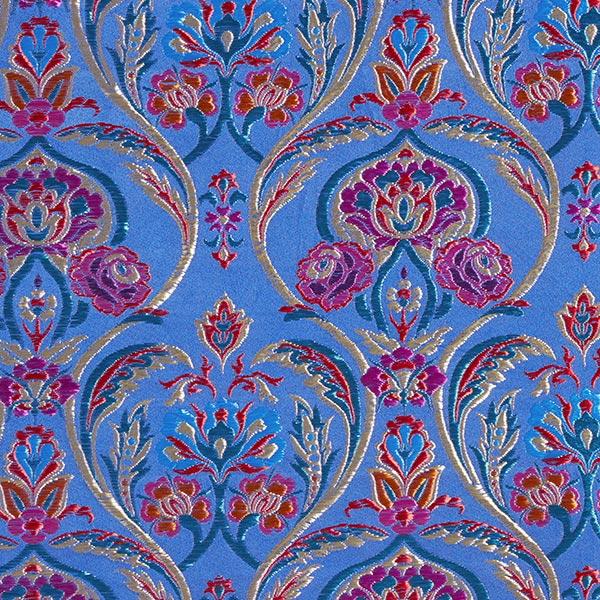 Tissu carnaval Brocart Folklore floral – bleu roi