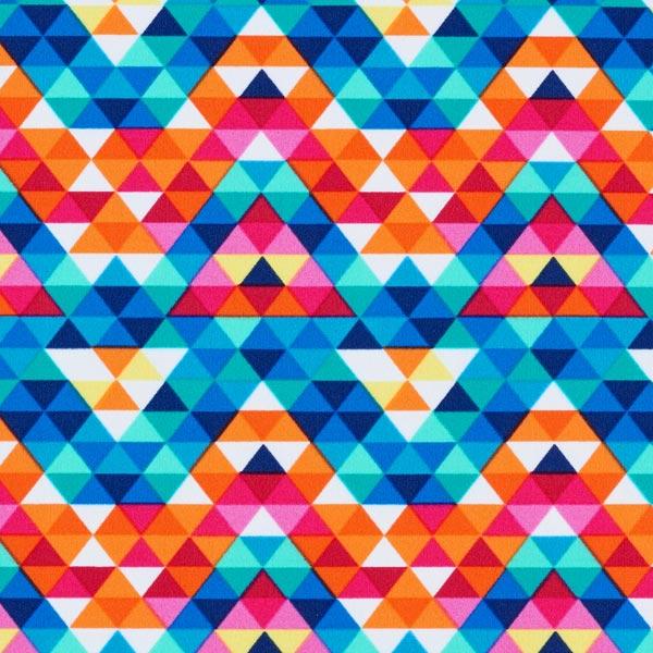Badeanzugstoff buntes Dreiecksmuster – weiss