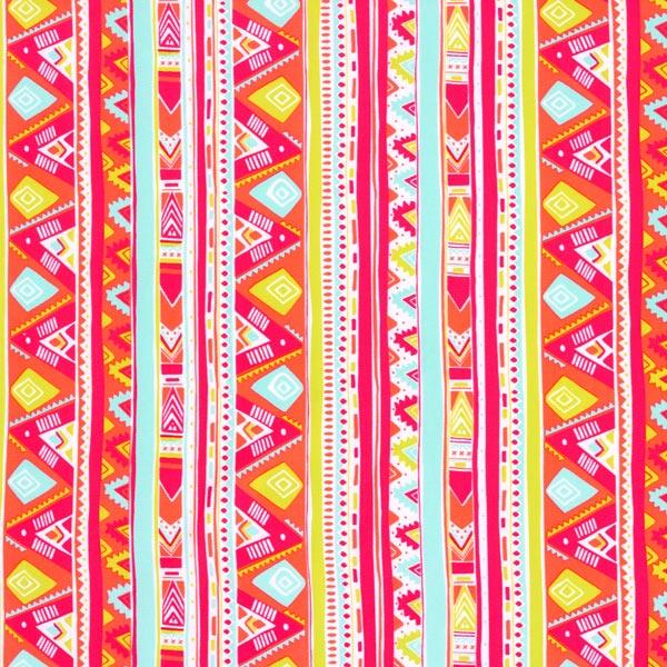 Tissus pour maillot de bain Lycra Motif aztèque – rose néon/vert menthe
