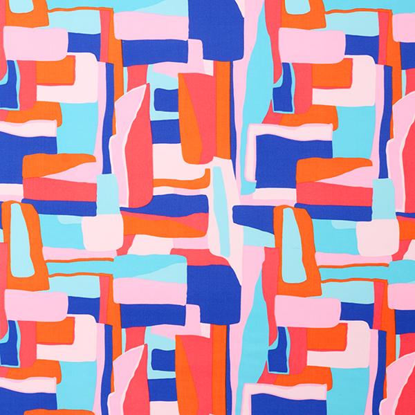 Tissus pour maillot de bain Motif abstrait – bleu/rose vif