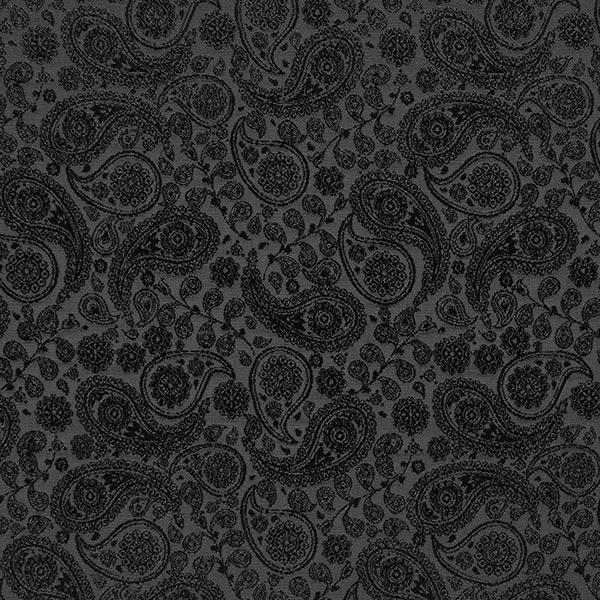 Futterstoff Jacquard Paisley – schwarz