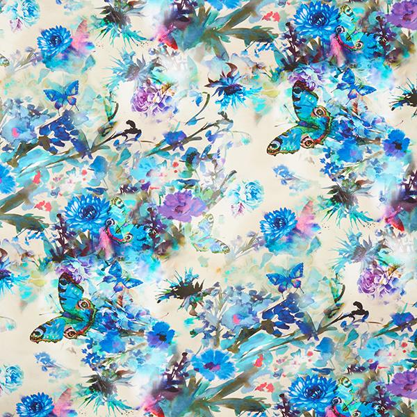 Jersey viscose Fleurs & papillons – sable
