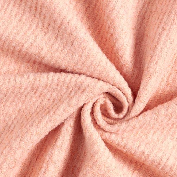 Tissu pour manteau bouclé en maille mélange laines – rose