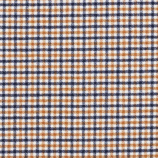 Mantelstoff Wollmix dreifarbiges Vichykaro – nachtblau/gelbbraun