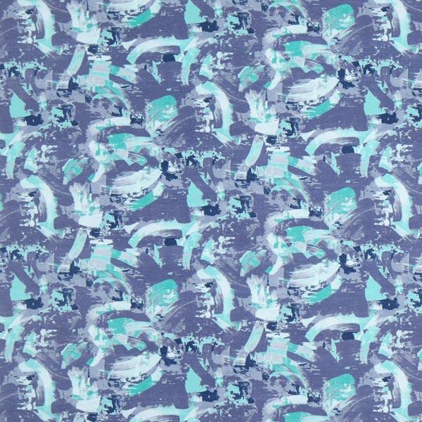 French Terry Digitaldruck Moderne Malerei – jeansblau
