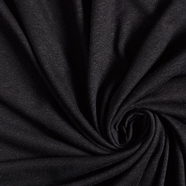 Jersey Viskose-Leinen-Mix Slubgarn – schwarz