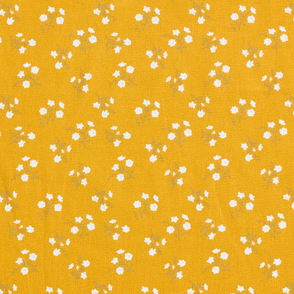 Popeline coton Branches de fleurs – moutarde