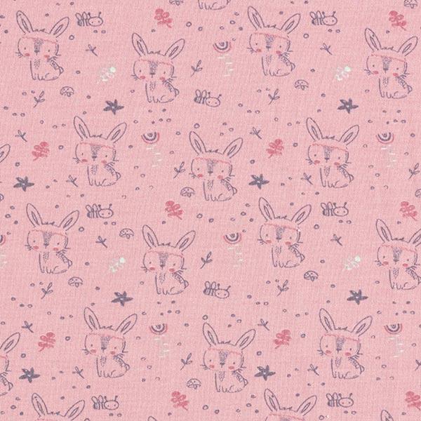 Jersey coton Petit lapin – rose
