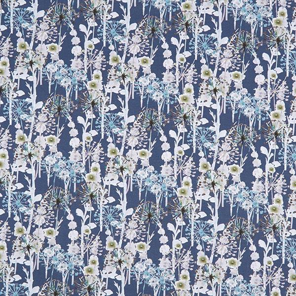 Jersey coton Fleurs de pissenlit aspect batik – bleu jean