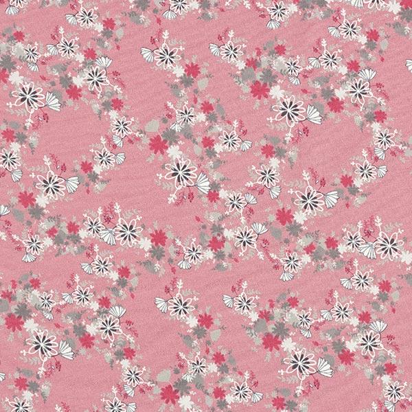 Jersey coton Petites fleurs d'automne – vieux rose