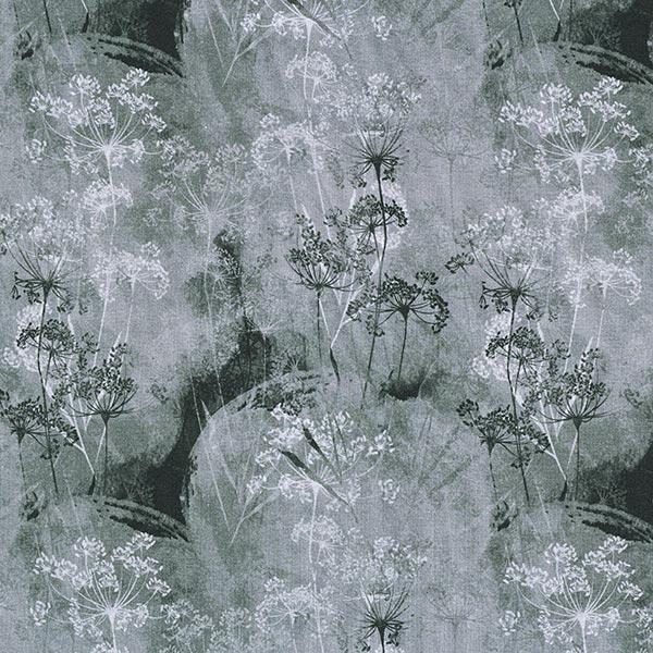 Jersey viscose Forêt de pissenlits – gris foncé