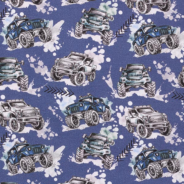 Sweatstoffe Monster-Trucks – jeansblau
