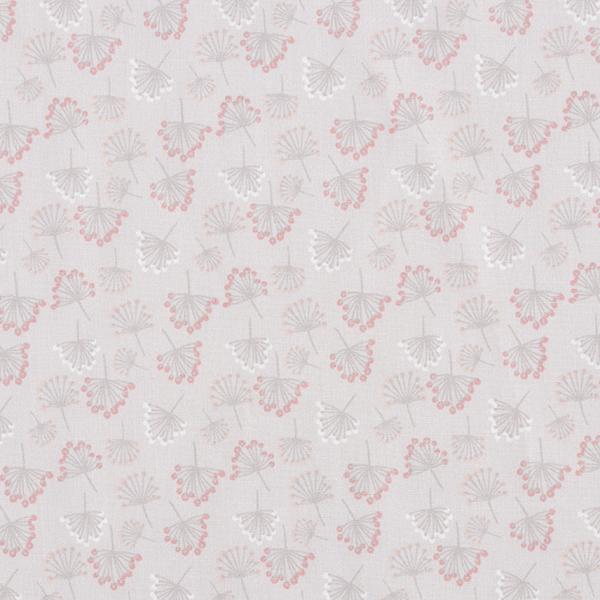 Baumwollstoff Popeline tanzende Pusteblumen – hellgrau