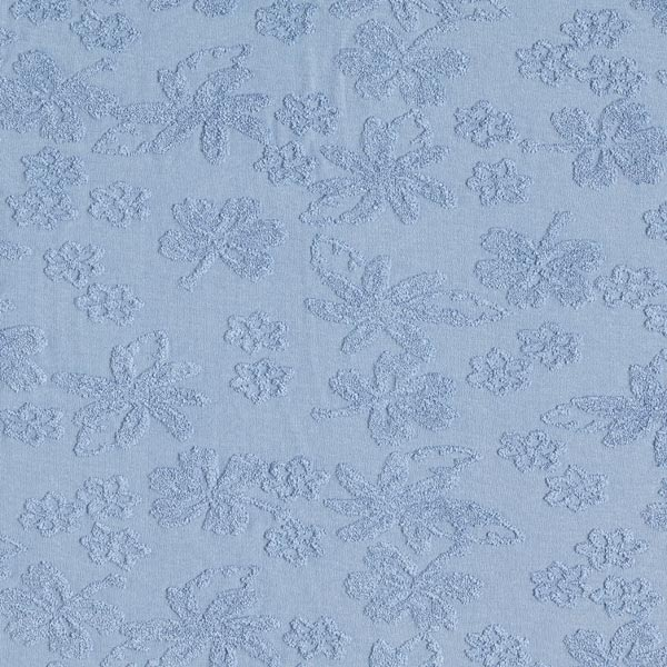 Jersey Jacquard Fleurs éponge – bleu jean
