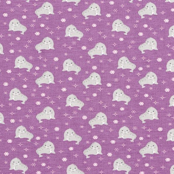 Jersey coton Bébé phoque – violet/gris clair