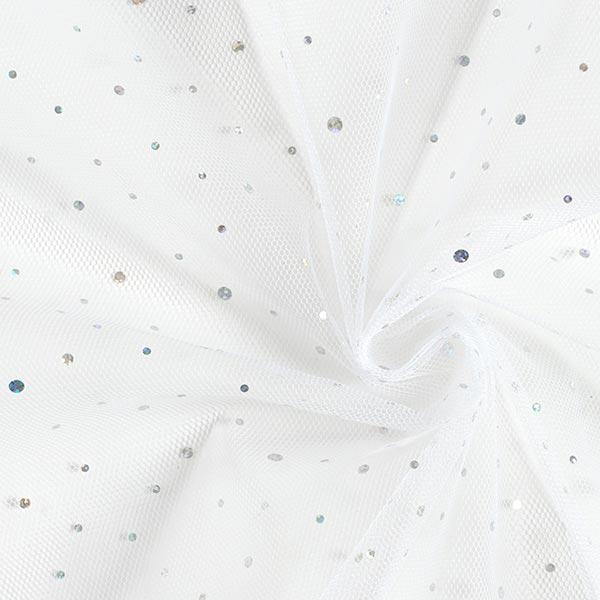 Tulle hologramme Paillettes – blanc