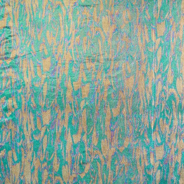 Jersey feuille métallisé Hologramme – or/vert