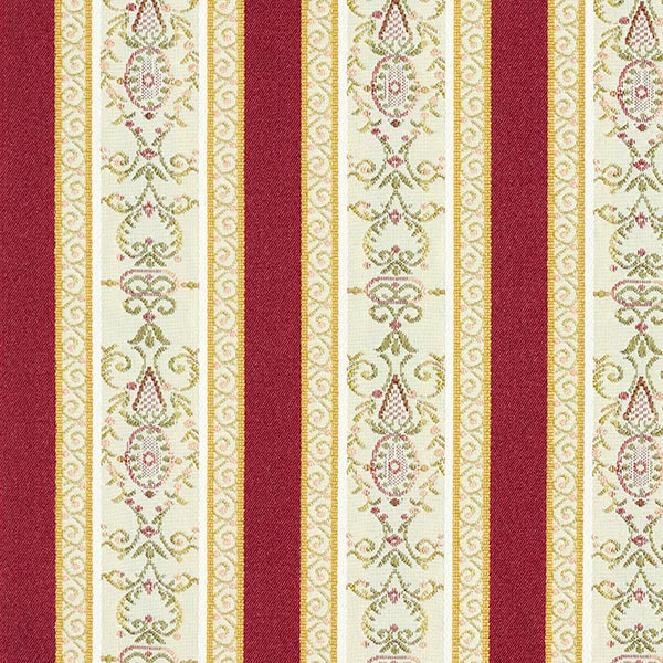 Möbelstoff Jacquard Biedermeier Streifen – creme/rot