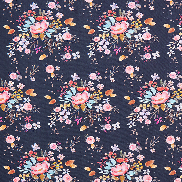 Baumwolljersey Flowermix | Contest Collection – navy