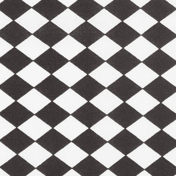 Tissu en coton Losanges allongés – noir/blanc