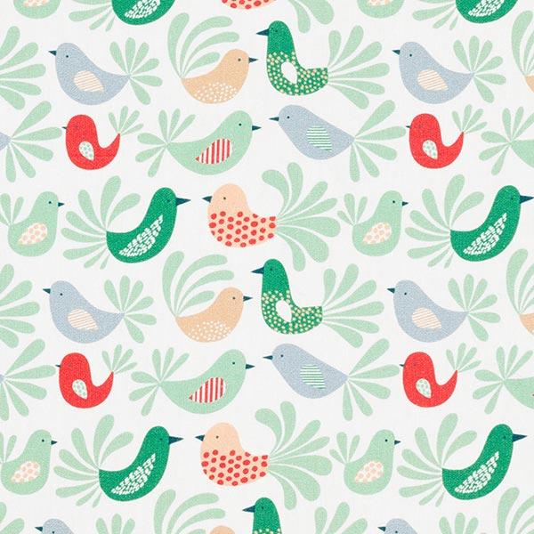 Baumwollpopeline Vögel | PETIT CITRON – mintgrün
