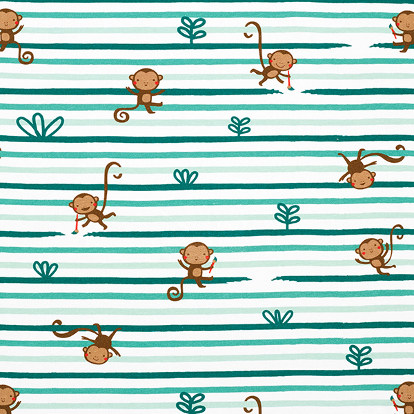 Baumwolljersey lustige Affen und Pinsel-Streifen | PETIT CITRON – wollweiss/mintgrün