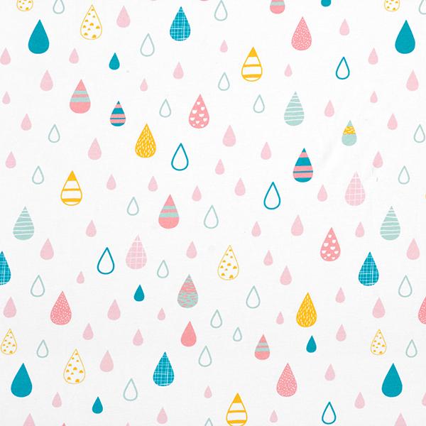 Jersey coton Gouttes de pluie multicolores | PETIT CITRON – blanc