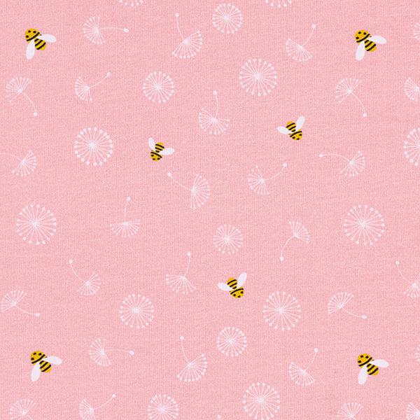 Jersey coton Abeilles et fleurs de pissenlit | PETIT CITRON – rose