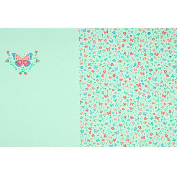 Jersey coton Panel Prairie de papillons | PETIT CITRON – vert menthe