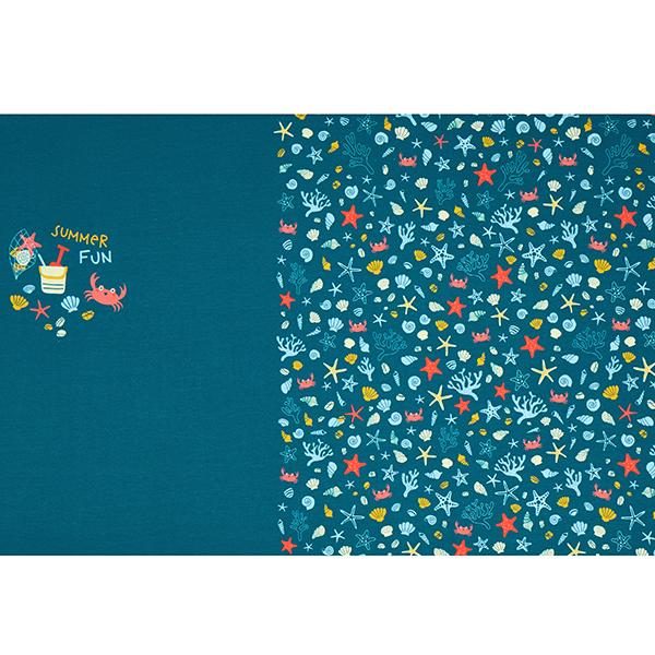 Jersey coton Panel Plaisirs de la plage | PETIT CITRON – pétrole